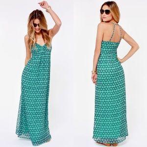 Roxy | Turquoise Solar Eclipse Print Maxi Dress